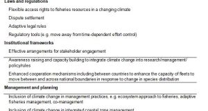 Available evidence across various adaptation options